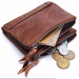 Wholesale Cowhide Clutches - HOT Genuine Crazy Horse Cowhide Leather Men Wallet Short Coin Purse Small Vintage Wallet Brand High Quality Designer