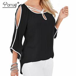 Wholesale Cloak T Shirts - Wholesale- Yomay women off the shoulder batwing sleeve loose T shirt Spring Summer Black Blue Cloak Basic Brief Irregular Top