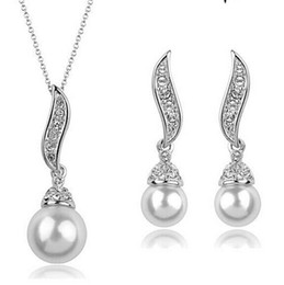 Wholesale Pearl Drop Mother - Rhodium Silver Plated Clear Rhinestone Crystal Diamante Drop Pearl Bridal Pendant Necklace and Earrings Jewelry sets