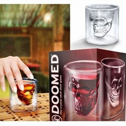 Wholesale Doomed Shot Glass - Doomed Crystal Skull Shot glass Cups Head Vodka Shot Glass Cup Beer Wine Whisky Mug Drink ware 25-250ML Kitchen Dining Bar Retail Box
