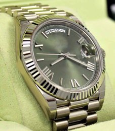 Wholesale automatic white dial - Mens High Quality Luxury AAA President 40mm Day-Date 228239 18K White Gold Green Roman Dial Men's Mechanical Automatic Wristwatches 2017
