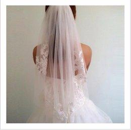 Wholesale Diamond White Bridal Veils - Short One Layer waist length beaded Diamond appliqued white or ivory wedding veil bridal veils