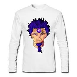 Wholesale Fluorescent T Shirts - King steady Purple Fluorescent Color Hair Avatar men's long sleeve T-shirt crew neck cartoon printed cotton customized sweatshirt