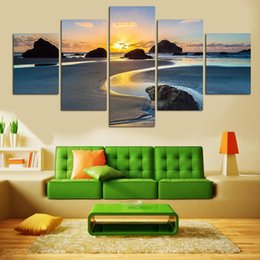 Wholesale Sunset Sea - Seascape Canvas Prints Artwork Sunrise Modern Modular Pictures Sunset Sea Beach Painting Print Home Decorative Wall Art Pictures