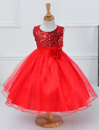 Wholesale Children Wedding Clothes For Girls - 2017 New Sequins Wedding Princess Part dress for Toddler Girls Clothes Girl Dresses Kids tutu Dress Children Clothing