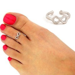 Wholesale Europe Celebrity Fashion - Wholesale- 2016 Fashion Europe Style Punk Celebrity Fashion Simple Gold Silver Retro Infinity Design Adjustable Toe Ring Beach Foot Jewelry