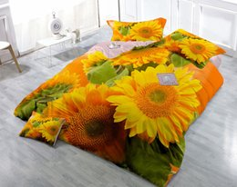 Wholesale Duvet Sunflower - Custom Drawings Can be Customized 3D Bright Sunflowers Digital Printing Cotton Satin 4-Piece Duvet Cover Sets Bedding Sets