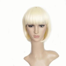 Wholesale Blonde Short Hair Styles - Hair Wigs Synthetic Hair Products 10 inch Short BOB Cut Straight Hair Style Flaxen with Blonde Color