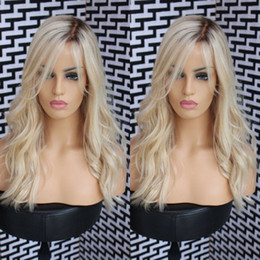 Wholesale Long Blond Hair Wigs - Fashion Ombre blond Bodywave Lace Front Wig Glueless Long Natural Black blond Virgin Human Hair Wigs For fasihion Women