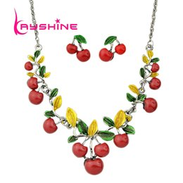 Wholesale Girls Red Cherry Set - Hot Sale Fashion Jewelry Sets Green Leaf Red Cherry Collar Necklace and Stud Earrings for Women Accessories