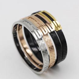 Wholesale Party Matches - Korean fashion all-match Black Plaid titanium bracelet rose gold bracelet female Korean jewelry