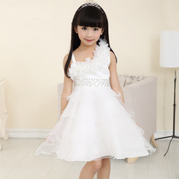 2019 vestiti da damigella d'onde di ginocchio organza Flower Girls Dress Princess Pageant Formal Dress Party Kids Dress Vestiti Girls Knee Length Damigella d'onore Adolescente Summer vestiti da damigella d'onde di ginocchio organza economici