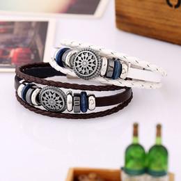 Wholesale Mens Weave Bracelet Leather - Vintage Weave Beaded Cowhide Bracelet Fashion Mens Alloy Bracelets Women's Multiple layers Leather Punk Bracelet armbanden