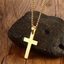 Wholesale Silver Cross Necklace Male - Cross Necklaces&Pendants For Men Stainless Steel Gold-Color Male Pendant Necklaces Prayer Jewelry High Quality Factory Price