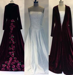 Wholesale Lace Wedding Dress Coats - 2017 New Winter Christmas A Line Wedding Dresses Cloaks Burgundy Velvet Long Sleeves Flowers Plus Size Formal Bridal Gowns With Jacket Coat