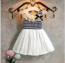 Wholesale Navy Blue Striped Dress Kids - 2t-5t little girls kids sleeveless navy stripe bows lace neck tutu dress girl vest tulle dresses for summer