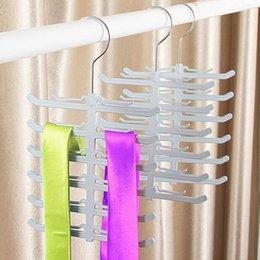 Wholesale Plastic Neck Tie Hanger - New Non-Slip Scarf Tie Rack Tie Hanger Metal Hook 12 Bar Neck Ties Organizer