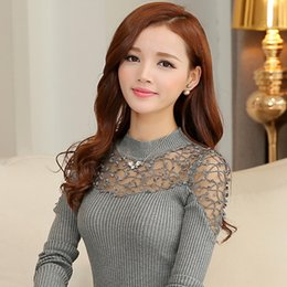 Wholesale Lace Ponchos - Wholesale-2016 Women Lace Sweaters Pullovers Embroidery Winter Sexy Woman Knitwear Lady Blouse Top Tunic Poncho Black,Red,White,Grey