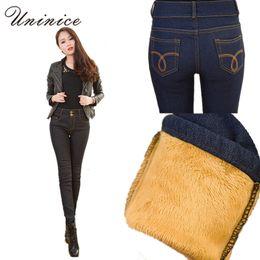 Wholesale Korean Women Winter Pants - Wholesale- Cheap Korean Warm Winter Women Pencil Pants Jeans Slim Sexy Blue Black High Waist Denim Cowboy Lining Women Pencil Jeans Pants