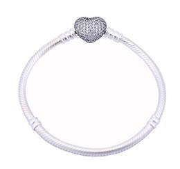 Wholesale Bangle Pave - 925 Sterling Silver Sparkling Cubic Zirconia Paved Heart Clip Logo Women Bangle Bracelets Fit Pandora Style Charm European DIY Beads 17-21CM