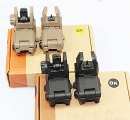 Scatole posteriori online-Nuovo mirino pieghevole anteriore Gen 1 anteriore e posteriore per Airsoft BK DE con scatola al minuto