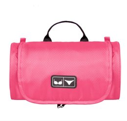 Wholesale Men Underwear Plain - New Polyester Women Bra Bag Candy Colors Women Cosmetic Bags Fashion Make Up Travel Bags Bras Cover Underwear Case