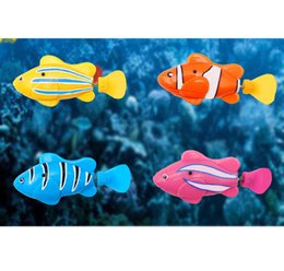 Wholesale Robo Fish Dhl - 7 Styles Robo Fish Water Activated Battery Powered Robofish Kids Clownfish Bath Toys Baby Children Robotic Fish Electronic Pet with Box DHL