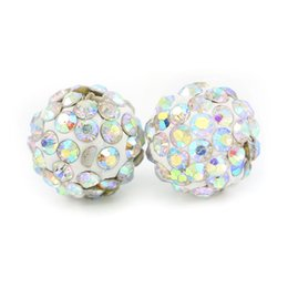 Wholesale polymer clay making - Shamballa Pave Disco Ball Clay Beads Half Drilled Polymer Clay 6 Rows Rhinestone Beads Round Charms Jewelry Making 100pcs bag
