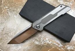 Wholesale Hunter Bear - Tracker Searcher hunter ball bearing D2 TC4 titanium Hunting Knife Multi Tools Pocket Survival Knives Xmas gift knife for man 1pcs