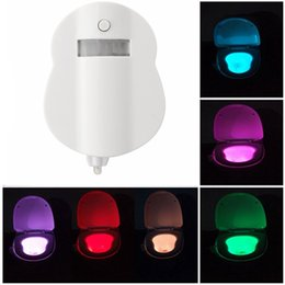 Wholesale Battery Nightlights - 8 Color Human Motion Activated LED Sensor Toilet Night Light Bowl Bathroom Lamp Battery-operated LED Toilet Nightlight