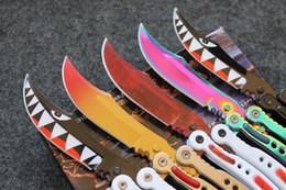 Wholesale Fire Steel Knife - 5 Styles CSGO CS GO Butterfly Balisong Knife Cross Fire 440C Steel Clip Point Plain Sharp Metal Handle Tactical Folding Knives B300L