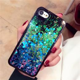 Wholesale Flow Iphone - For iPhone 7 7plus South Korea glitter love quicksand sequins soft case flow liquid Case For iPhone 6 6 plus with OPP Package