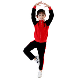 Wholesale Girls Spring Sports Jackets - New Fashion Kids Tracksuit,Girls Winter Red Cotton Jacket And Pant Set For Sport or Dance