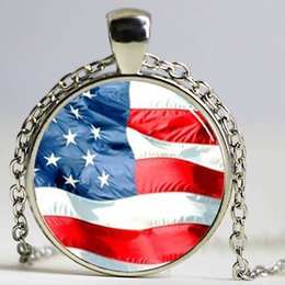 Wholesale Flag Items - Handmade Item United States of America Flag Pendant, USA Necklace Silver Plated