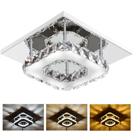 Wholesale Crystal Art Deco Ceiling Lights - 12W Modern LED Crystal Light Square Surface Mounted Lamp Crystal Chandeliers Ceiling Light Fixture for Hallway Corridor Asile Light 85-265V