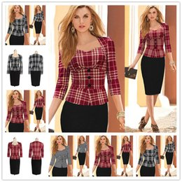 Wholesale Womens Sleeveless Blouse Size M - 2017 New Womens Autumn Geometry Colorblock Peplum 3 4 Sleeve Casual Work Office Party Top Blouse Size S-2XL