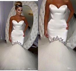Wholesale Designer Crystal Wedding Gowns Sweetheart - Crystal Mermaid Designer Wedding Dresses Sweetheart Low Back Wedding Gowns Classic Lace Up Back Bridal Gowns Online 2017 Hot Sale