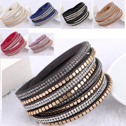 Wholesale Bulk Bands - 7 Colors Multilayer Wrap Bracelets Rhinestone Diamond Crystal Leather Bracelets Band Tennis Wristband Colorful Charming Jewelry In Bulk