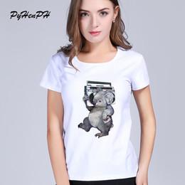 Wholesale Koala Shorts - PyHenPH Brand harajuku white t shirt women Short Sleeve Music koala t-shirts O-neck women tops tees summer clothing PH0220