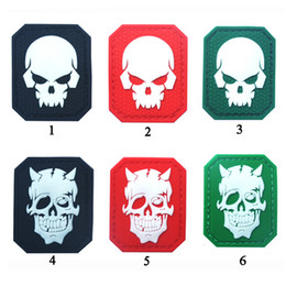 Wholesale Badge Army - Glow In Dark Skull Tactical Morale Patch Emblem Hook & Loop Army PVC Badge Morale Rubber Patch Appliques free ship