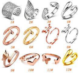 ouro chinês barato Desconto 925 banhado a prata anel rosa anel de ouro moda jóias embutidos multi coração anéis de prata ajustável barato chinês mercadorias abertas / besajvzasn