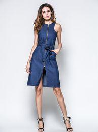 Wholesale Girl S Denim Dresses - Hot women Clothing dresses personality Denim cardigan vest design Fashion sexy girl zipper dresses Size S M L XL XXL