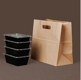 Wholesale Boutiques Paper Bags - 02.21 15*28*29cm brown Kraft paper cake paper bags box food packaging Jewelry Bread Candy Party Bags For Boutique cookie handle