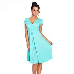 Wholesale Loose Maternity Dresses - Women's Sexy V-Neck Maternity Dress Stretchy Tunic Short Sleeve Office OL Dresses Loose Hem Plus Size Robe Femme