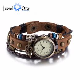 Wholesale Geneva Bangle Watches - Wholesale- Hot Leather Bracelet Watch Women Charm Leaf Ethnic Geneva Style Bracelets & Bangles Vintage Lady Jewelry (JewelOra BA10147)