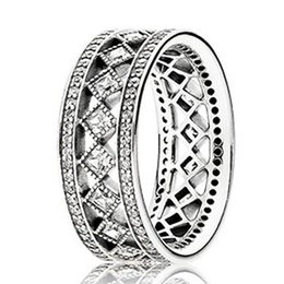 Wholesale Vintage African American Women Gifts - Authentic 925 Sterling Silver Ring Openwork Vintage Fascination Crystal Rings For Women compatible with Pandora jewelry HRC0281