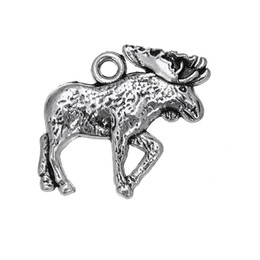 Wholesale Doe Animal - 100pcs lot Moose Antique Silver Plated Floating Doe Deer Animal Charms Jewelry Accessory For Necklace Or Bracelets (184402)