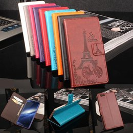 Wholesale Card Models Wholesale - Folio Wallet PU Leather Protective Flip Stand Cards Slots Case with Tower Embossing Process for Elephant S7 S7 MINI More Models option