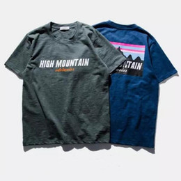 Wholesale Mountain Tee Shirts - High Quality 100% Cotton High Mountain T Shirt Short Sleeve Hip Hop Street Sport Style Breathable Comfortable Tee