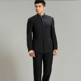 Wholesale Mandarin Collars Blazer - tailor made men suits fashion handsome men wedding suits tuxedos black mandarin collar formal occasions suits(jacket+pants)